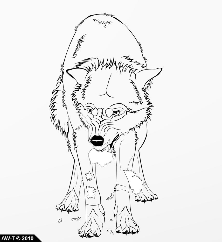 Angry Wolf Lineart by AbsoluteWolf on DeviantArt