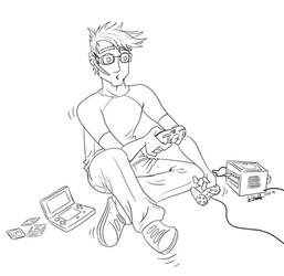 'Multitasking' - Line Art Commission Piece