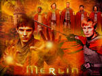 merlin,  arthur and knights
