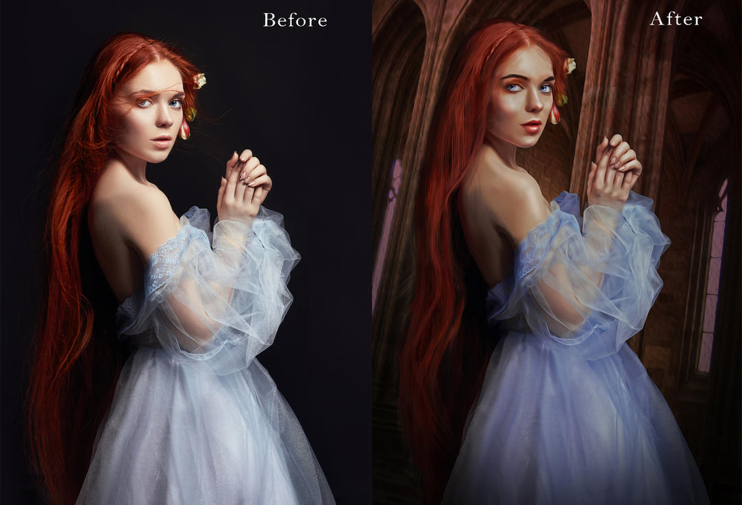 A Princess In  Castle before after by ektapinki