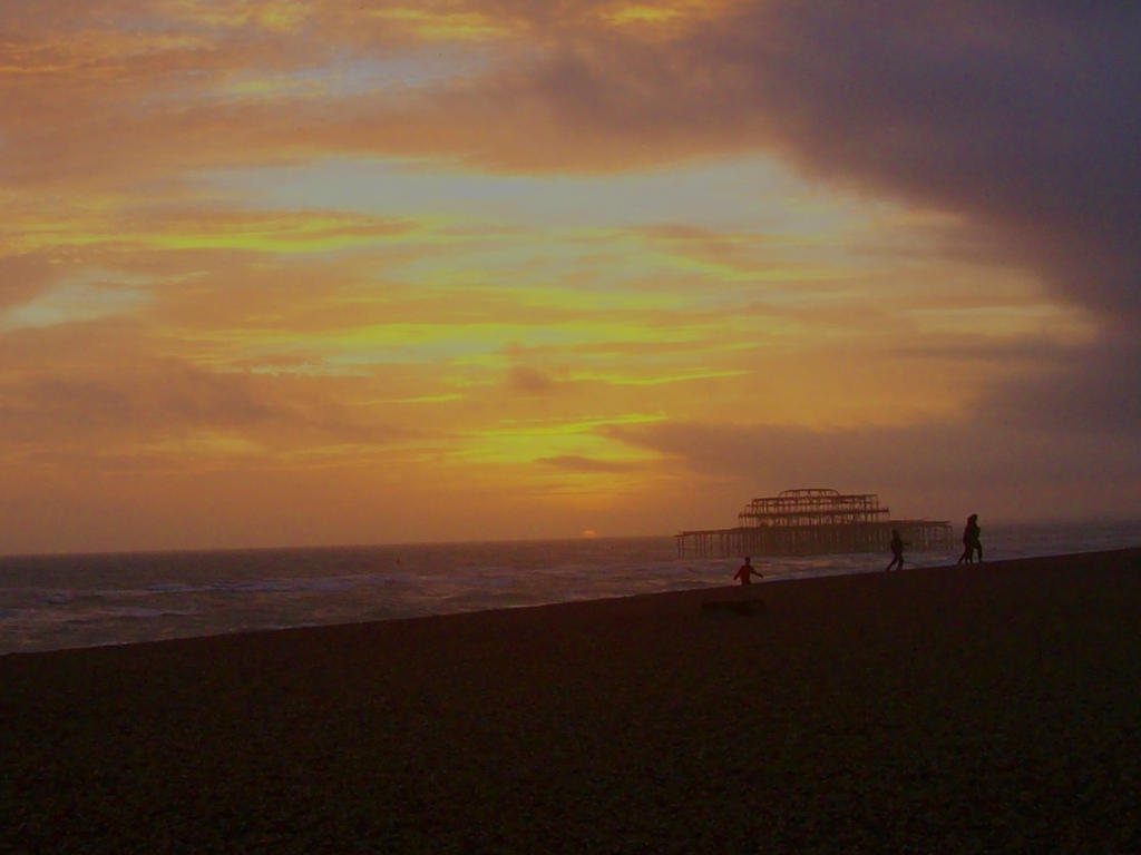 Brighton West pier at sunset by Azul-Seahorse