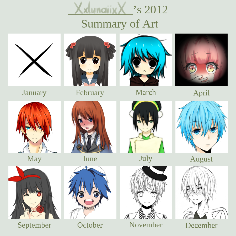 Summary of Art 2012 by XxlunaiixX