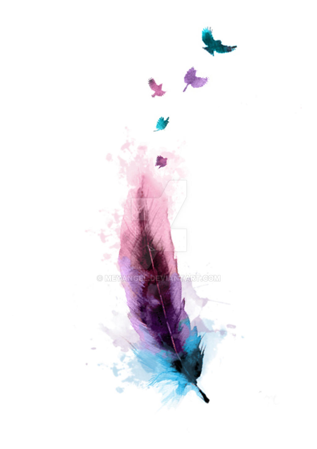 watercolour feather by meyangel on deviantart