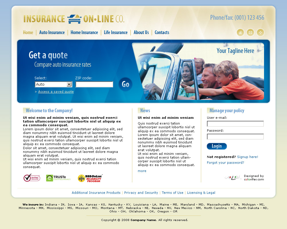 car insurance website templates  Business Website Template 012 by colorifer on DeviantArt