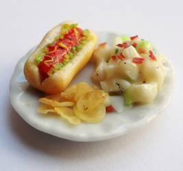 Miniature Hot Dog and Potato Salad by WaterGleam