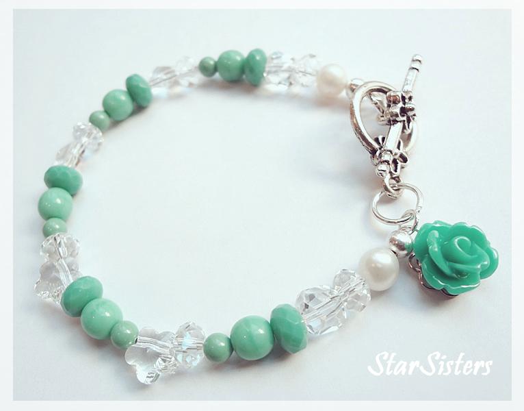 Aqua Rose Turquoise Bracelet by WaterGleam
