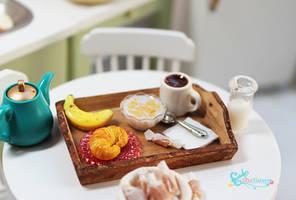Croissant Breakfast Tray by WaterGleam