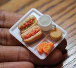 Miniature hotdog lunch