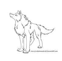 Wolf lineart by xXxAimeexXx