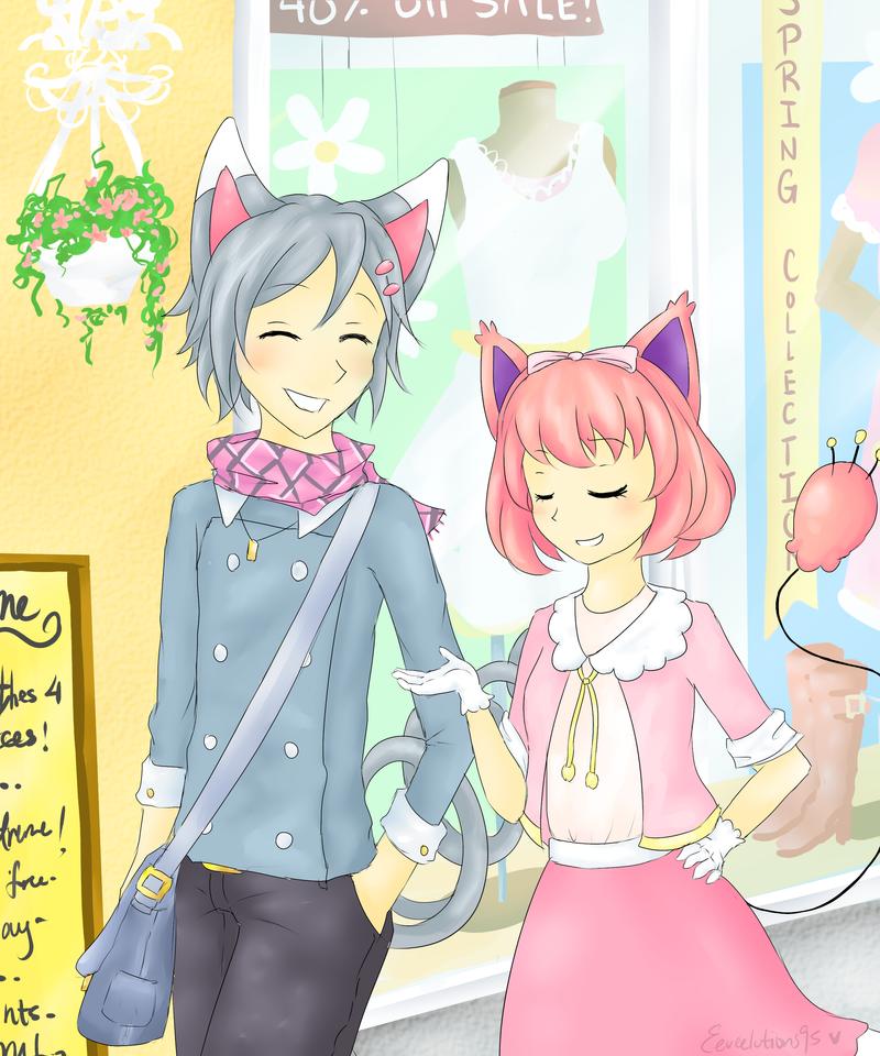 Pkjpv2: Kitties taking a stroll- by Eeveelutions95