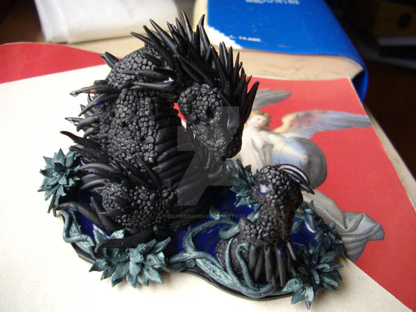 Black Fimo Dragon by PissiPissiBauBau