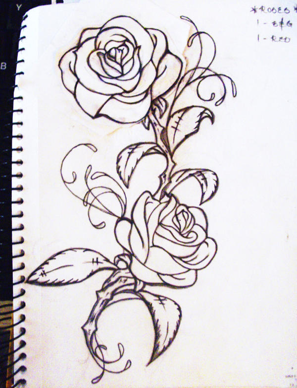 My Roses tattoo by LO-YORose Vine Drawing Tattoo