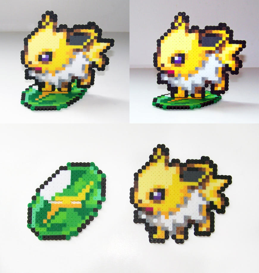 FOR SALE Perler Bead Jolteon w/ Thunderstone Stand by NerdyNoodleLabs