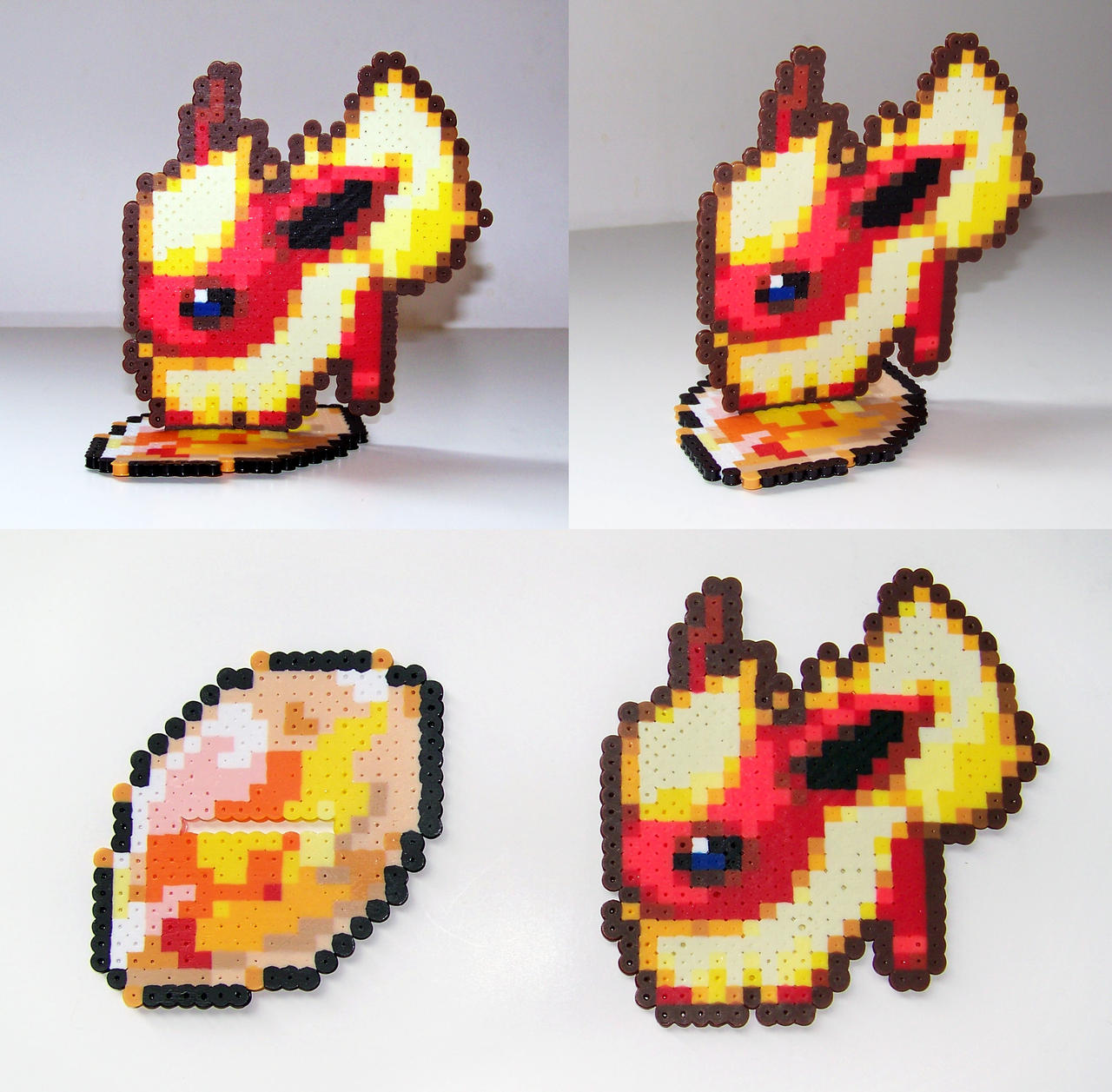 FOR SALE Perler Bead Flareon w/ Fire Stone Stand by NerdyNoodleLabs