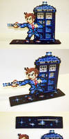 Perler Bead 10th Doctor and Tardis with Stand