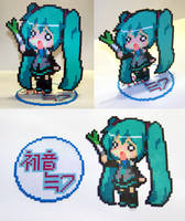 Perler Bead Hachune Miku with Stand by NerdyNoodleLabs