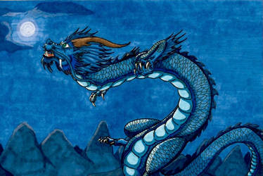 The Azure Dragon Of The East by akitawolfmon