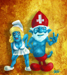 The Smurfs by omar-campos-oniri