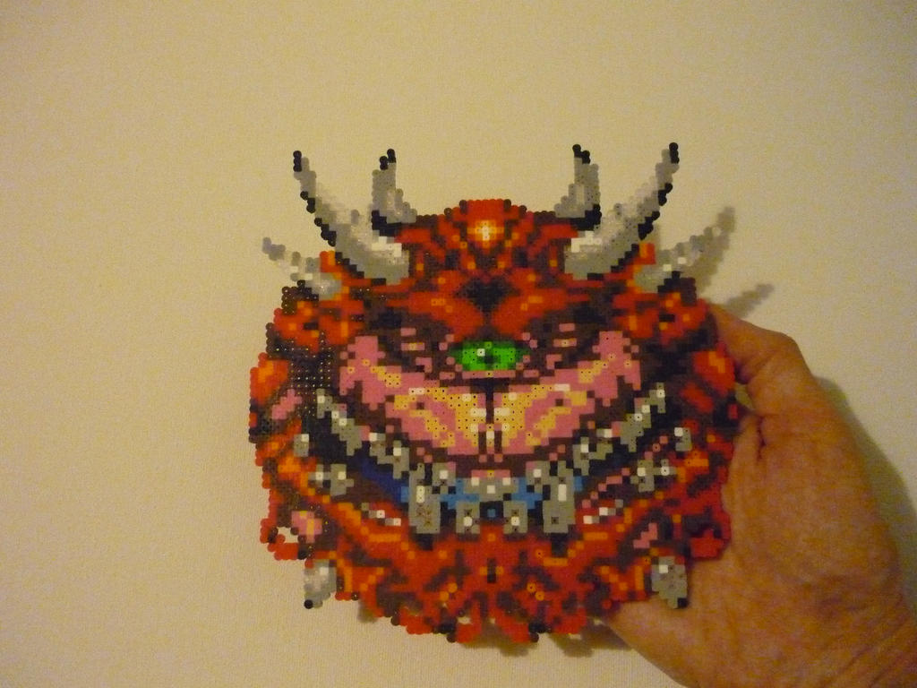 DOOM Cacodemon Mini Perler Bead Sprite by monochrome-GS