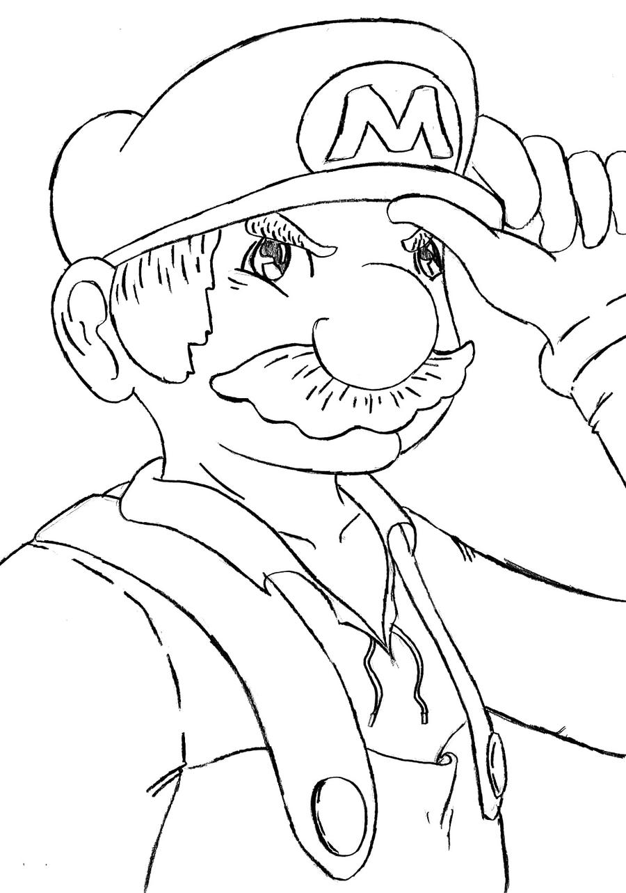 Lineart - Old Mario by mrsisan on DeviantArt