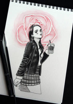 Inktober - Leather + Roses