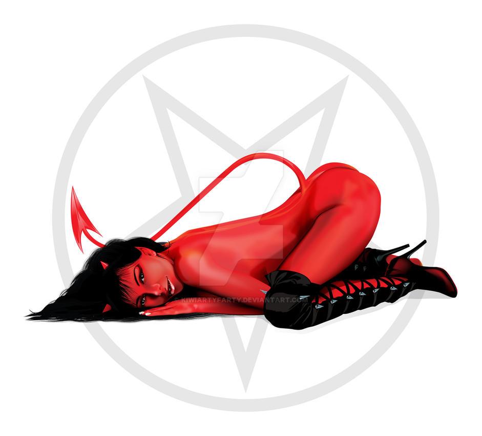Red Devil Girl by KiwiArtyFarty