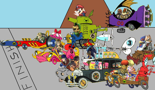 SSB Wacky Races by SuperSaiyanCrash on DeviantArt