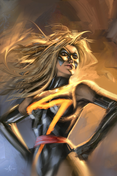 Ms. Marvel Sketch by AlexGarner