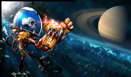 Skull Robot in Space