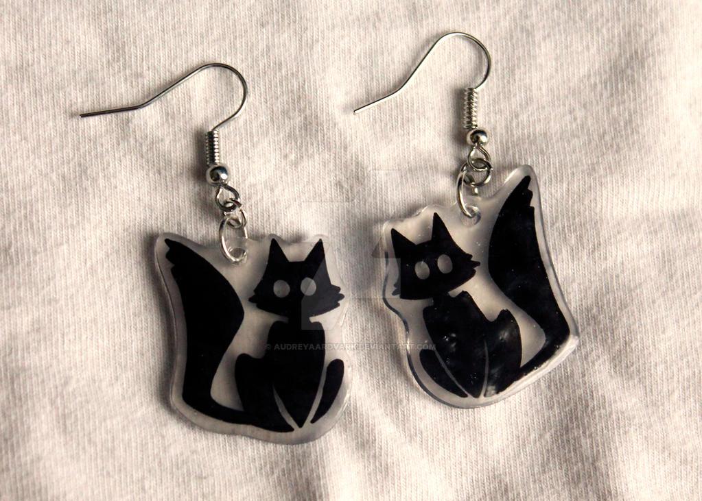 Black sitting Cat Earrings by X---Jinx---X