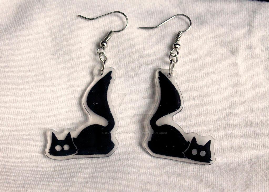 Black Playful Cat Earrings by X---Jinx---X