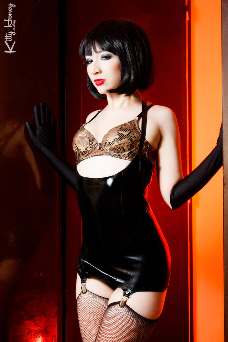 Kitty Honey in black latex corselette by Kitty-Honey