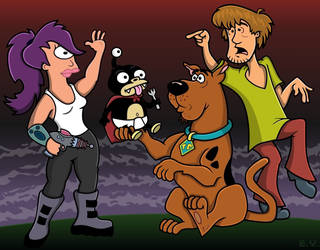 Leela, Nibbler, Scooby and Shaggy. by TallToonist