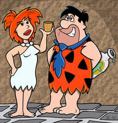 Another Version of Wilma and Fred. by TallToonist