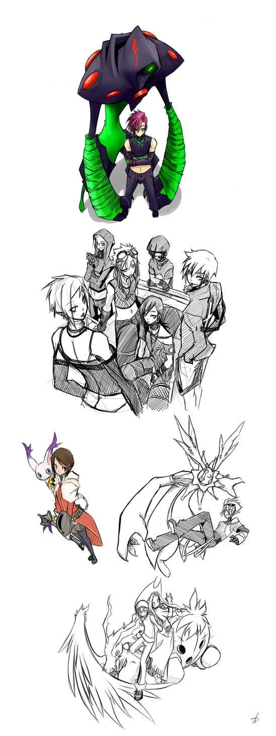 Random Digimon Doodles by kaizer33226
