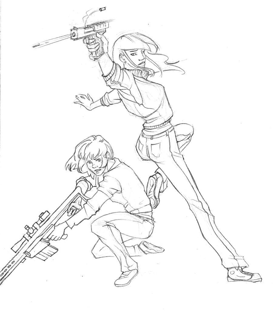 Line Art Gun : Gun girls lineart by key on deviantart
