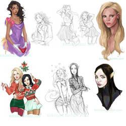 winter sketchdump by kiikii-sempai