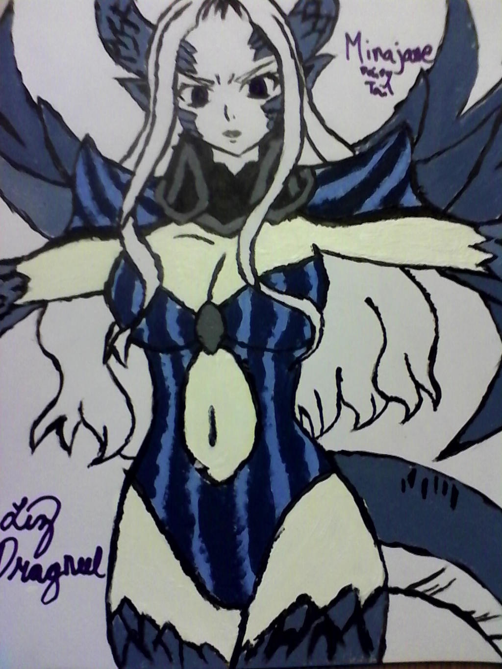 my drawing of mirajane from fairy tail by lizdragneel on