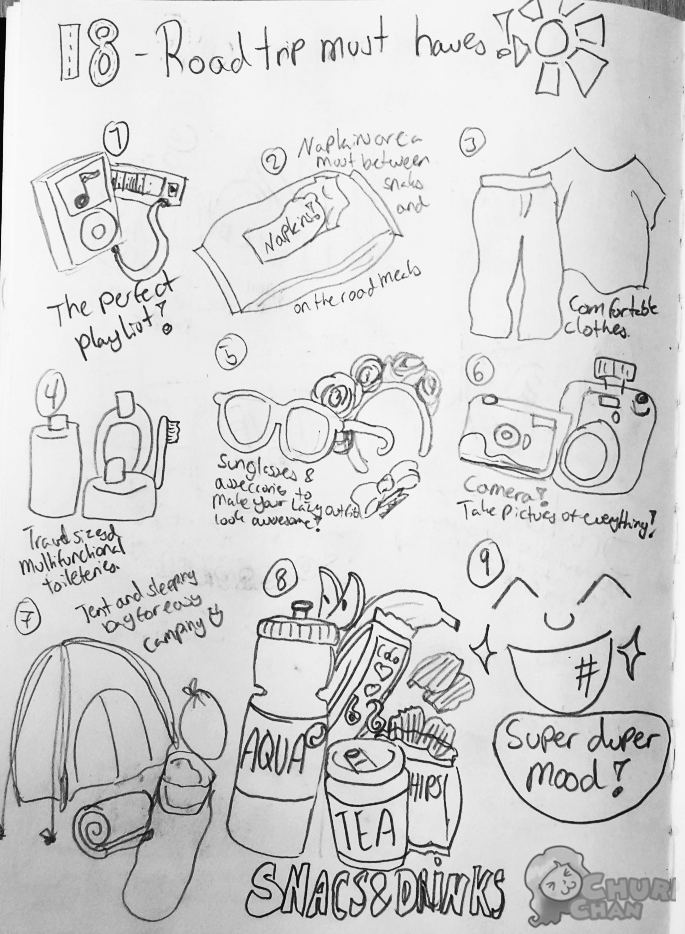30DaysOfLists: 18 - Road trip must haves by Churichan