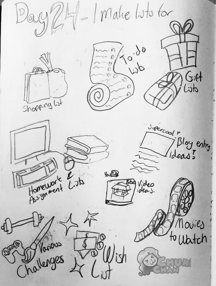 30DaysOfList: 24 I make lists for by Churichan