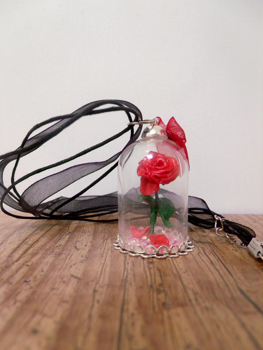 Sold Enchanted Rose In Glass Dome Pendant By Myselfmasked