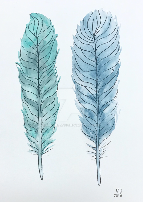 Christmas gift 2018 - watercolor feathers by minniearts