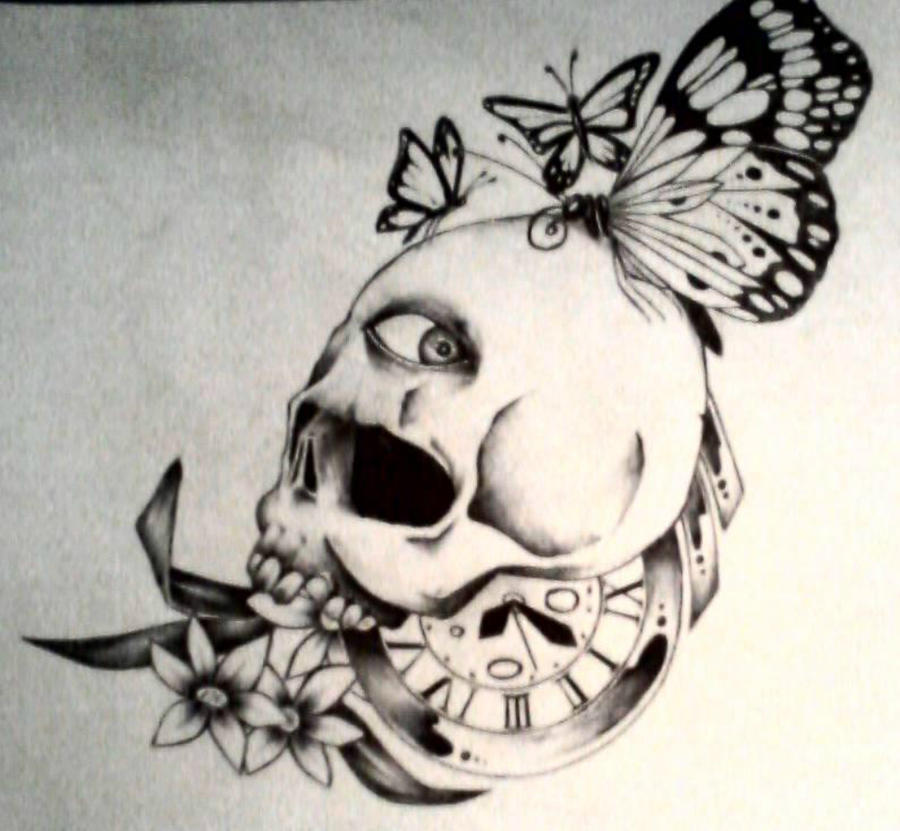 Skulls Tattoo Design Wallpaper: Butterfly Eye Skull Tattoo Design By Jerryellie On DeviantArt