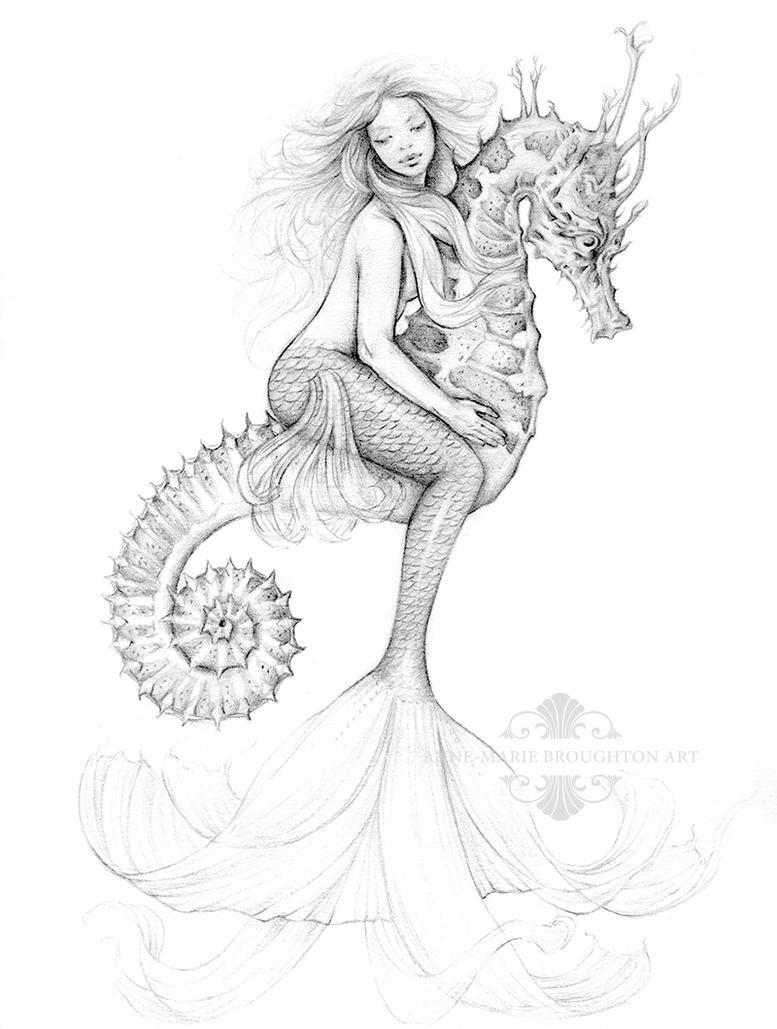 Mermaid Riding Seahorse by Mocten