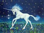 Unicorn Foal Art Acrylic Painting on Wood Box