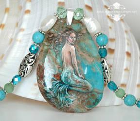 Sea Mist handpainted mermaid necklace close up