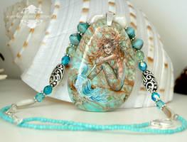 Green Lagoon Handpainted Mermaid Pendant Necklace by Mocten