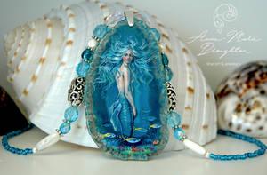 Azure Tide Handpainted Mermaid Pendant Necklace