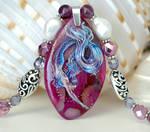 Deep Purple Handpainted Mermaid Pendant Necklace