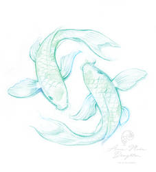 Pisces ying yang fish sketch design for pendant by Mocten